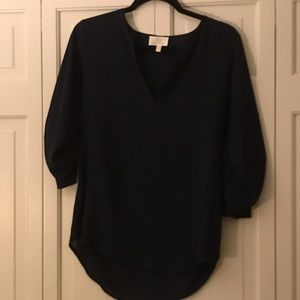 Navy blue blouse with rolled up sleeve